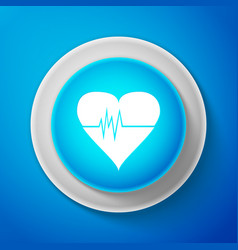 White heart rate icon heartbeat sign heart pulse vector