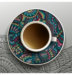 With a cup coffee vector