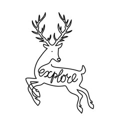 with outline deer and calligraphy word explore vector image