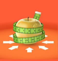 Yellow apple green measuring tape arrow diet vector