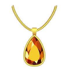 Yellow topaz jewelry icon realistic style vector