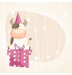 birthday cow vector image