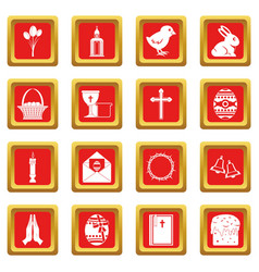 easter items icons set red vector image vector image