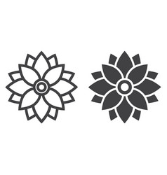flower astra line and glyph icon easter holiday vector image