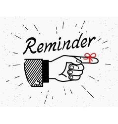 Human hand with reminder red tape on the finger vector image vector image