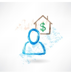 Man and house grunge icon vector image vector image