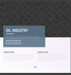 oil industry concept with thin line icons vector image