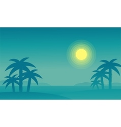 Silhouette of beach and palm at night vector