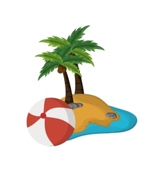 tropical island and beach ball icon vector image vector image