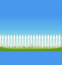 white fence on blue sky background vector image vector image