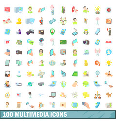 100 multimedia icons set cartoon style vector image vector image
