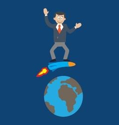 man on a rocket around the Earth vector image