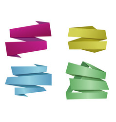 origami banner ribbons vector image vector image