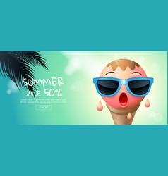 Summer sale cartoon ice cream face layout vector