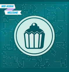 cupcake muffin icon on a green background with vector image