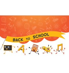 Education Characters Run Back to School Background vector image