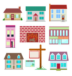 House set colourful home icon collection vector