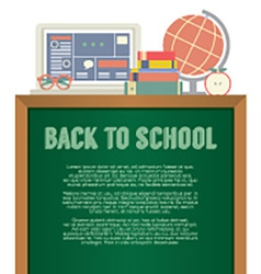 Laptop Books And Desk Globe Back To School Concept vector image