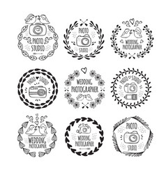 photo studio and wedding photographer logo design vector image