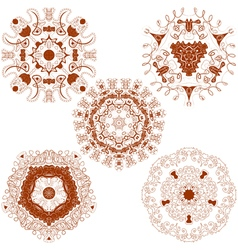 set from five brown round mandalas vector image