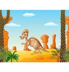 Duck billed hadrosaur in theprehistoric background vector image