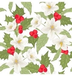 Holly berry mistletoe hellebore seamless pattern vector image