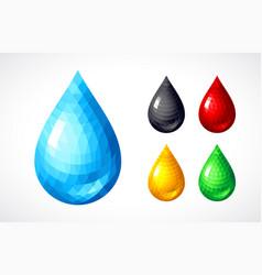 set of water honey blood petrol drops vector image