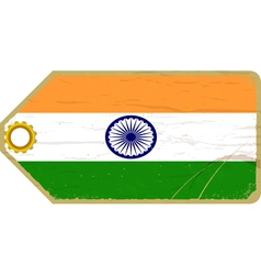 Vintage label with the flag of India vector image