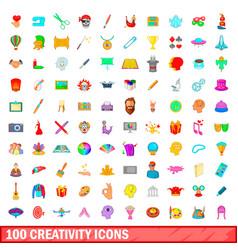 100 creativity icons set cartoon style vector