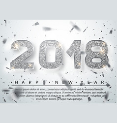 2018 happy new year silver numbers design vector
