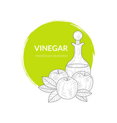 Apple vinegar banner or card template glass vector