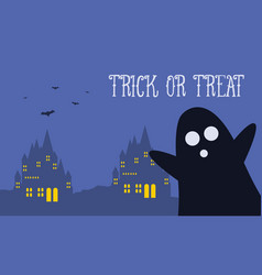 Background halloween night woith dark castle vector