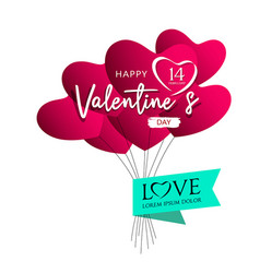 balloons red heart valentines day design vector image