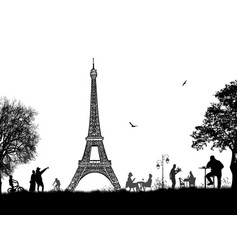 beautiful landscape design with eiffel tower and vector image