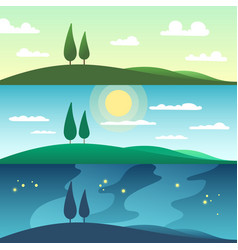 beautiful summer landscape in different times of vector image