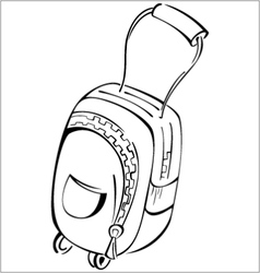 Black and white contour luggage bag vector image