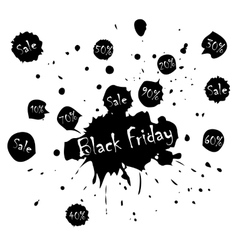 Black Friday Sale poster with blots in vector image