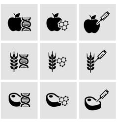 Black genetically modyfied food icon set vector