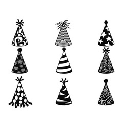 Black party hat icons set vector