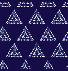 Blue shibori monochrome triangles seamless vector