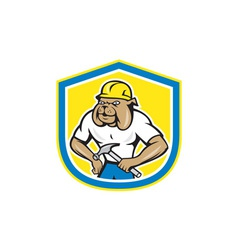 Bulldog Construction Worker Holding Hammer Cartoon vector image