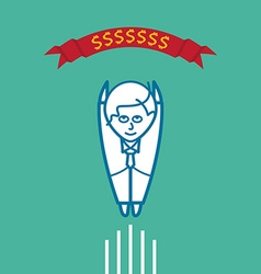 Businessman flying to his goal vector image