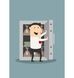 Businessman opens safe with money stacks and bags vector