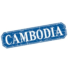Cambodia blue square grunge retro style sign vector