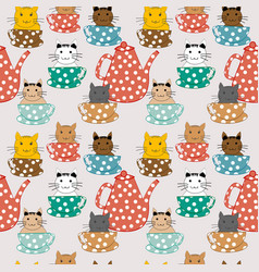 cartoon cats in cups seamless pattern vector image