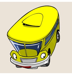 Cartoon character yellow bus fun jump vector
