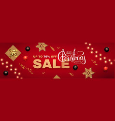 christmas sale banner with realistic gift box vector image