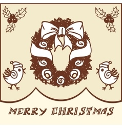 Christmas wreath doodles vector