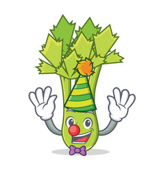 clown celery mascot cartoon style vector image
