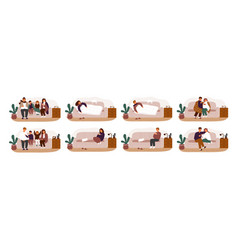 Collection of ill or sick and recovered people on vector